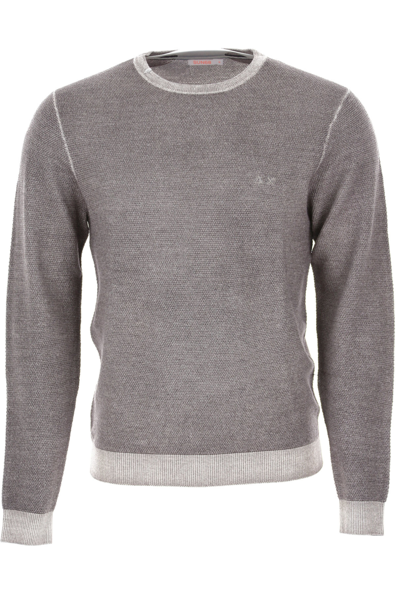 Sun68 Sweater for Men Jumper Steel Grey Melange DK - GOOFASH - Mens SWEATERS