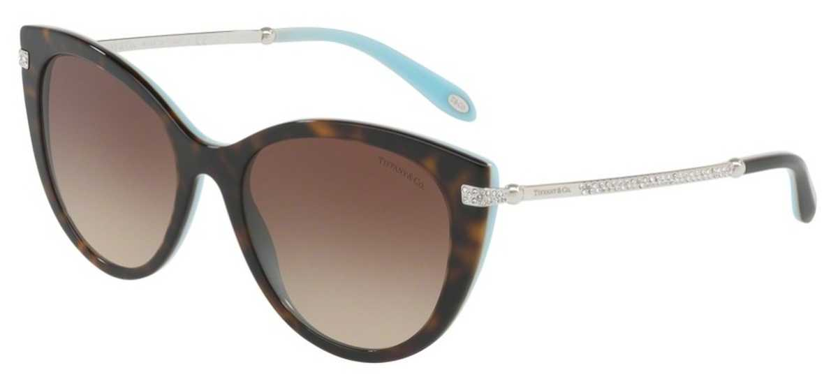Tiffany TF 4143B Sunglasses Havana/Blue USA - GOOFASH - Womens SUNGLASSES