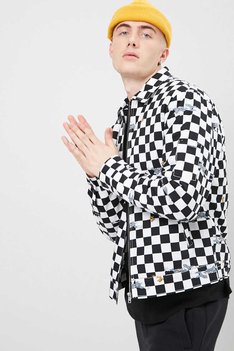 Tom & Jerry Graphic Checkered Jacket at Forever 21