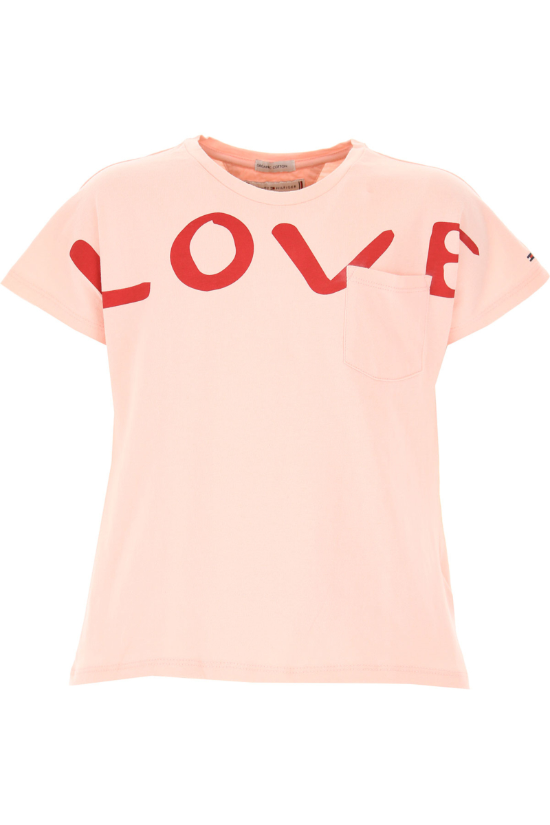 Tommy Hilfiger Kids T-Shirt for Girls On Sale Pink DK - GOOFASH - Womens T-SHIRTS