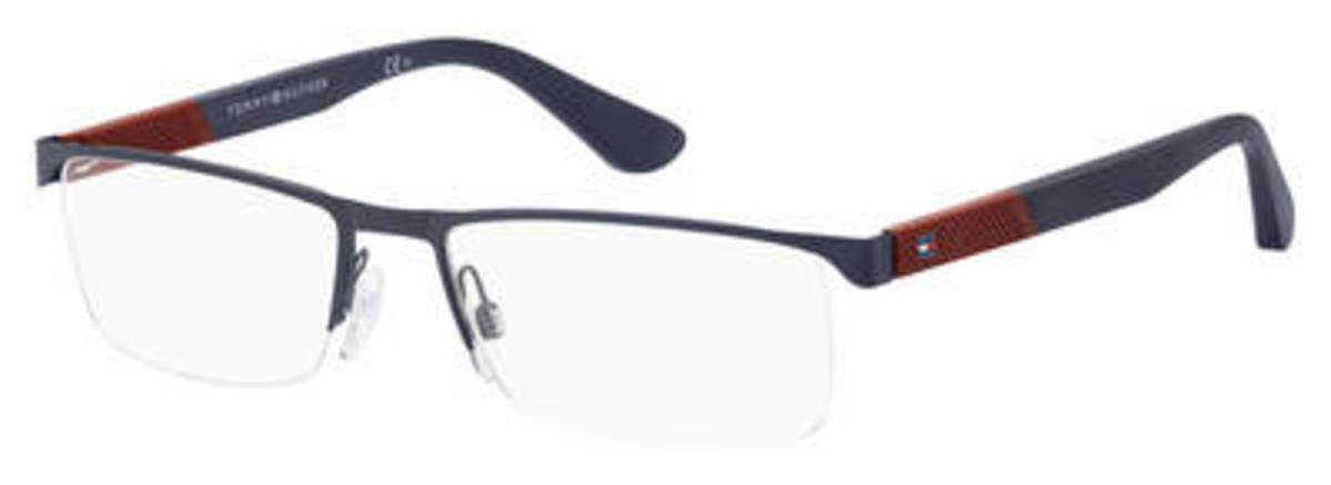 Tommy Hilfiger Th 1562 Eyeglasses Matte Blue USA - GOOFASH - Mens SUNGLASSES