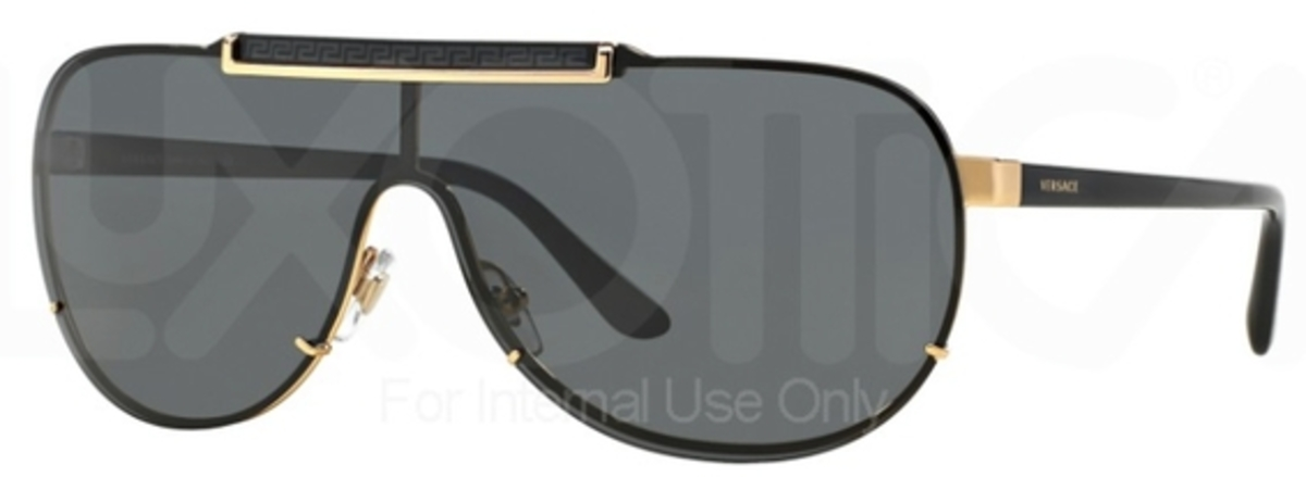 Versace VE 2140 Sunglasses Gold w/ Gray Lenses USA - GOOFASH - Mens SUNGLASSES