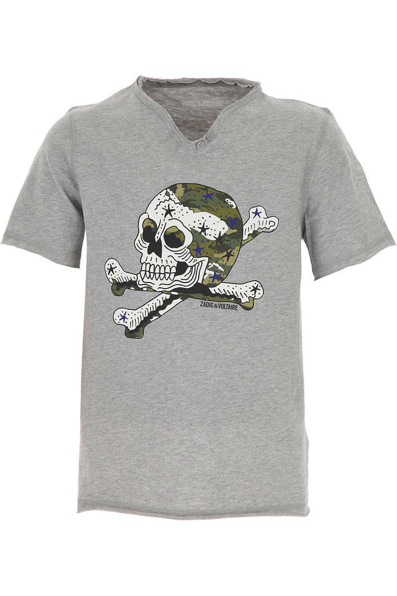 Zadig & Voltaire Kids T-Shirt for Boys On Sale Grey DK - GOOFASH - Mens T-SHIRTS