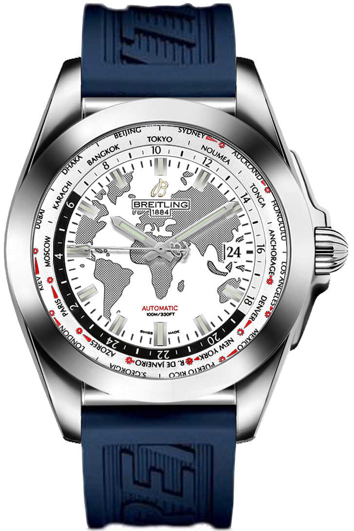 Breitling Galactic Unitime World Map White Dial Men's Watch WB3510U0/A777-121S White USA - GOOFASH - Mens WATCHES