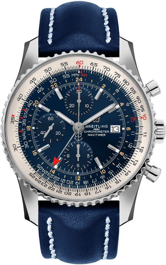Breitling Navitimer 1 GMT 46mm Automatic Men's Watch A24322121C2X1 Blue USA - GOOFASH - Mens WATCHES