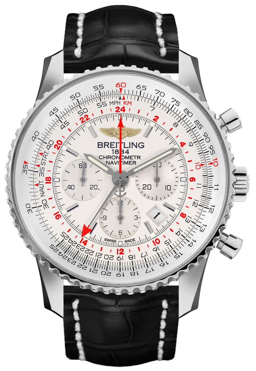 Breitling Navitimer GMT Mercury Silver Dial Men's Watch AB044121/G783-760P Silver USA - GOOFASH - Mens WATCHES