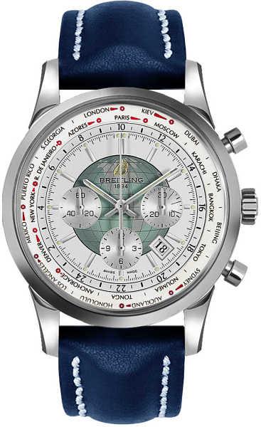Breitling Transocean Chronograph Unitime Men's Automatic Luxury Watch AB0510U0/A732-102X White USA - GOOFASH - Mens WATCHES