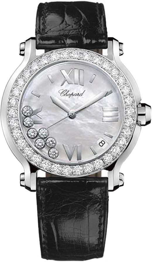 Chopard Happy Sport Round Women's Watch 278476-2002 White Mother Of Pearl USA - GOOFASH - Womens WATCHES