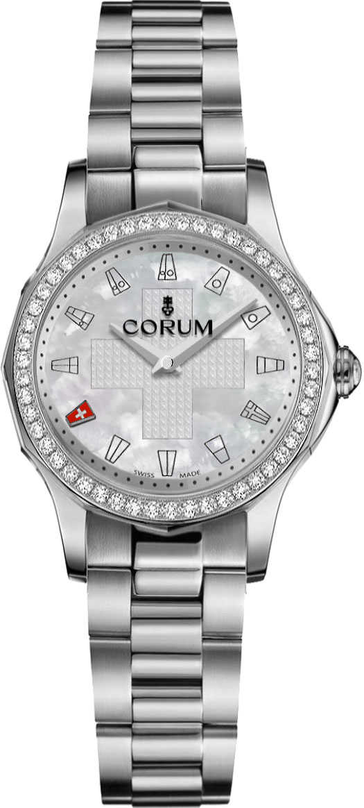 Corum Admiral Legend 32 Automatic Ladies Watch 400.101.47/V200 PN01 White Mother Of Pearl USA - GOOFASH - Womens WATCHES