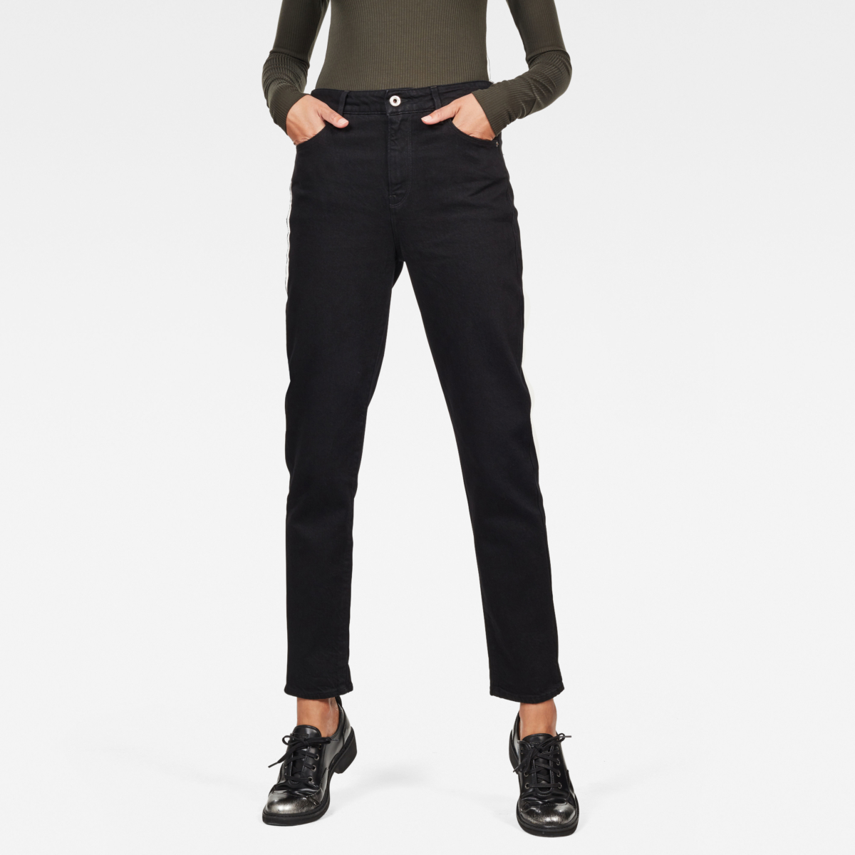 G-Star Jeans 3301 High Straight 90's Ankle Jeans Black Female Canada - GOOFASH - Womens JEANS