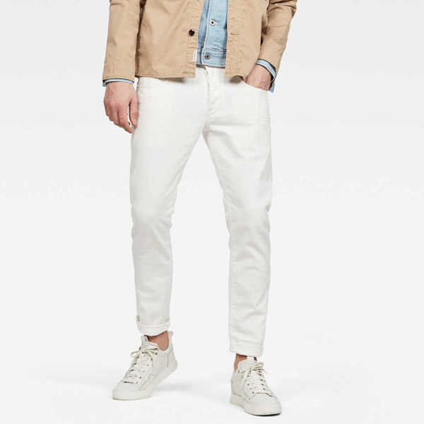 G-Star Jeans 3301 Slim Jeans White Male Canada - GOOFASH - Mens JEANS