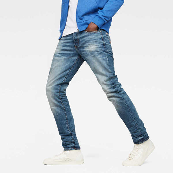 G-Star Jeans 3301 Straight Tapered Jeans Medium Blue Male Canada - GOOFASH - Mens JEANS