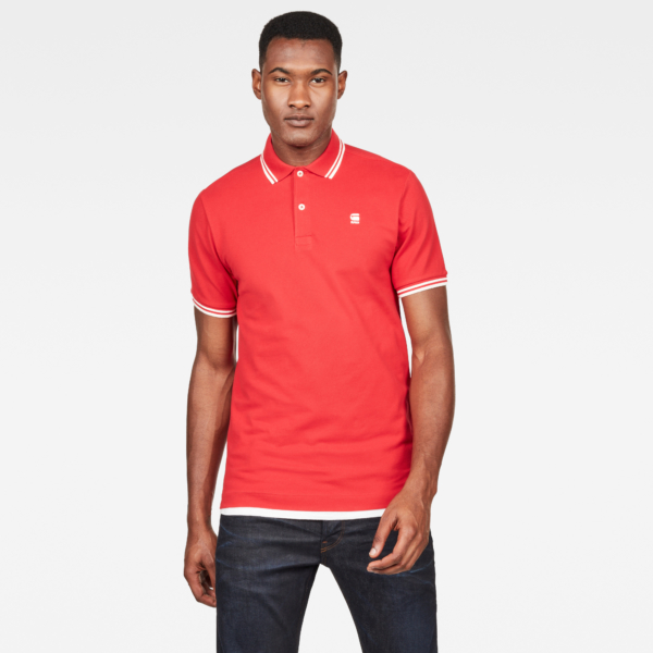 G-Star Polos Dunda Slim Stripe Polo Red Male Canada - GOOFASH - Mens POLOSHIRTS