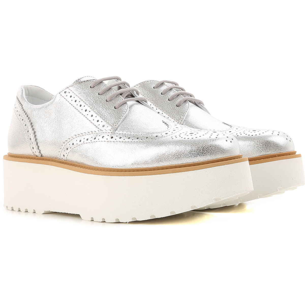 Hogan Wedges for Women in Outlet Silver Canada - GOOFASH - Womens HOUSE SHOES