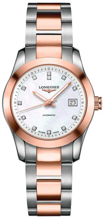 Longines Conquest Women's Diamond Watch L2.285.5.87.7 White Mother Of Pearl USA - GOOFASH - Womens WATCHES