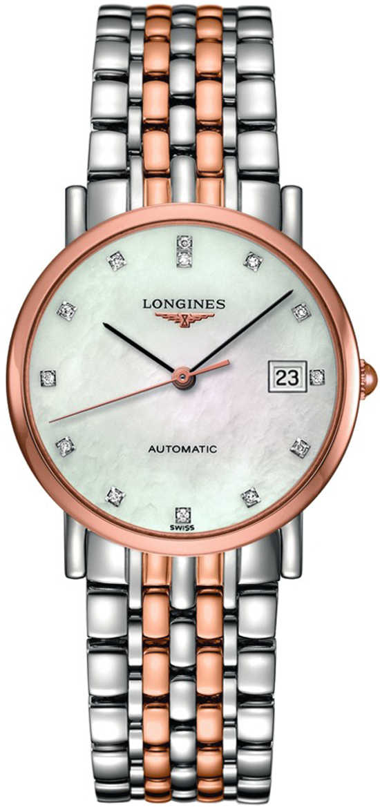 Longines Elegant Collection Rose Gold Ladies Automatic Watch L4.809.5.87.7 White Mother Of Pearl USA - GOOFASH - Womens WATCHES