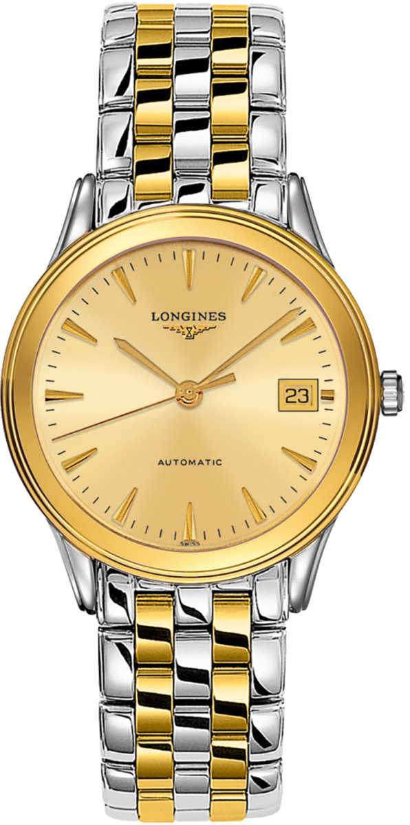 Longines Flagship 36nmm Automatic Men's Watch L4.774.3.32.7 Champagne USA - GOOFASH - Mens WATCHES
