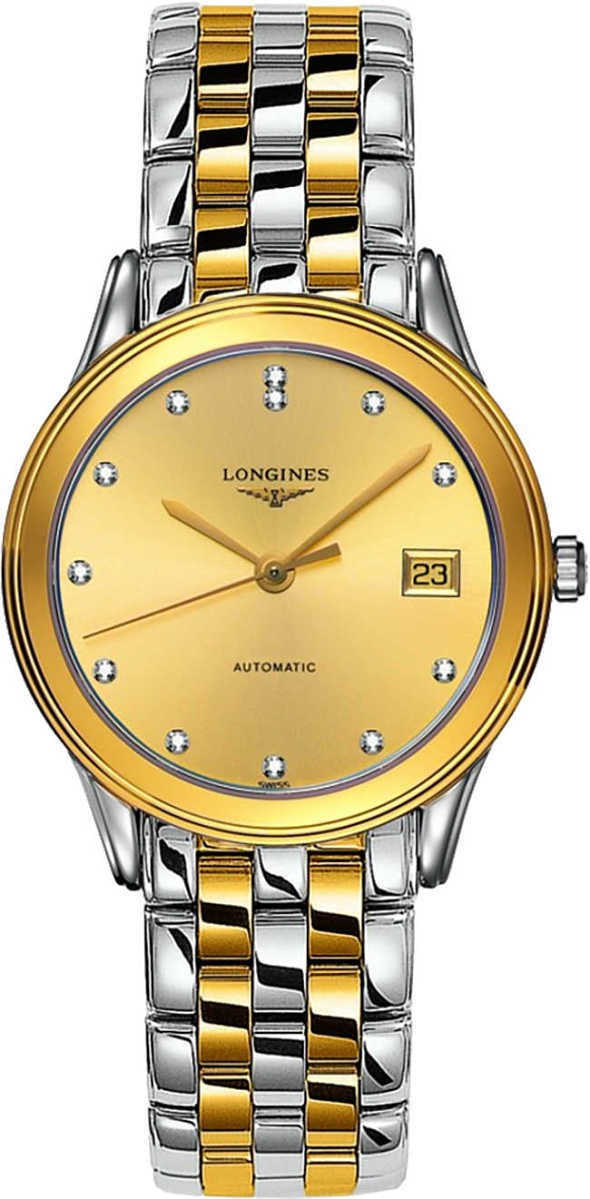 Longines Flagship Automatic Men's Dress Watch with Diamonds L4.774.3.37.7 Champagne USA - GOOFASH - Mens WATCHES