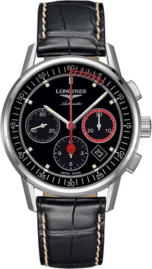 Longines Heritage Column Wheel Chronograph Men's Watch L4.754.4.52.4 Black USA - GOOFASH - Mens WATCHES
