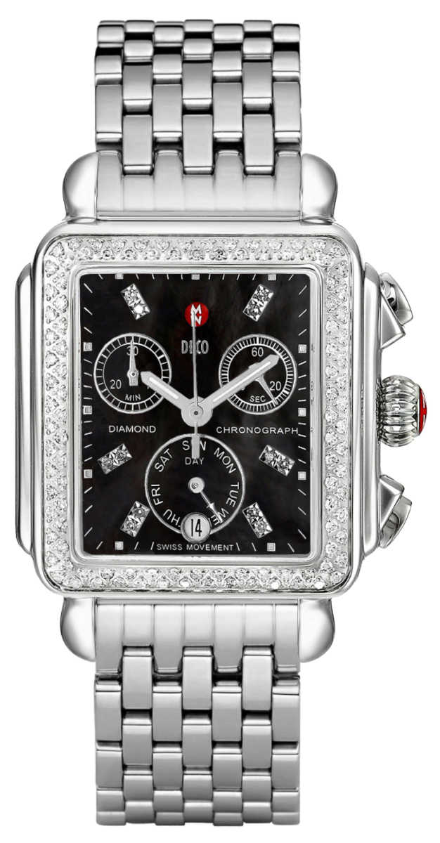 Michele Deco Diamond Black Dial Women's Watch MWW06P000171 Black Mother Of Pearl USA - GOOFASH - Womens WATCHES