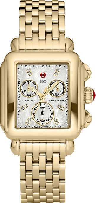 Michele Deco Diamond Gold Women's Watch MWW06P000016 White Mother Of Pearl USA - GOOFASH - Womens WATCHES