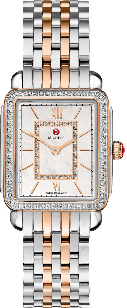 Michele Deco II Mid Two-Tone Rose Gold Women's Watch MWW06I000012 White Mother Of Pearl USA - GOOFASH - Womens WATCHES