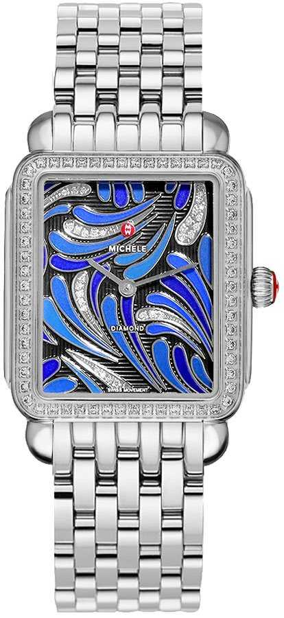 Michele Deco II Peacock Patterned Blue & Diamond Dial Ladies Watch MWW06X000031 Blue USA - GOOFASH - Womens WATCHES