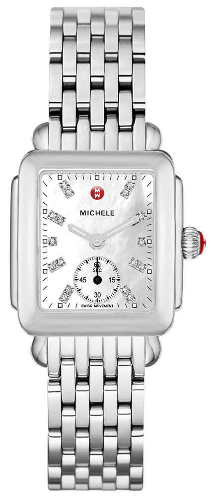 Michele Deco Mid Diamond Dial Women's Watch MWW06V000002 White Mother Of Pearl USA - GOOFASH - Womens WATCHES