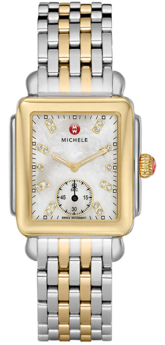 Michele Deco Mid Two-tone Women's Watch MWW06V000042 White Mother Of Pearl USA - GOOFASH - Womens WATCHES