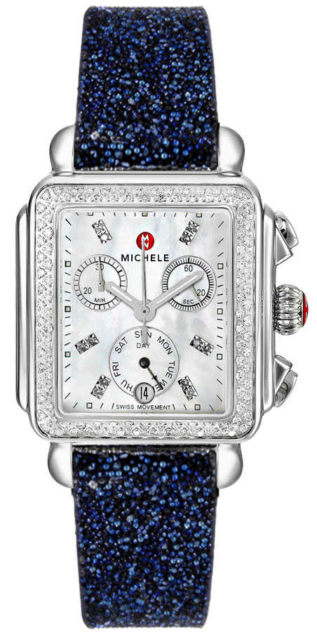 Michele Deco Mother of Pearl & Diamond Ladies Luxury Watch MWW06P000099 White Mother Of Pearl USA - GOOFASH - Womens WATCHES