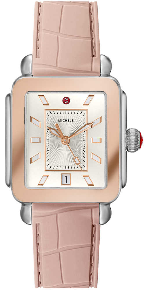 Michele Deco Sport Two-Tone Pink Gold Ladies Watch MWW06K000015 Silver USA - GOOFASH - Womens WATCHES