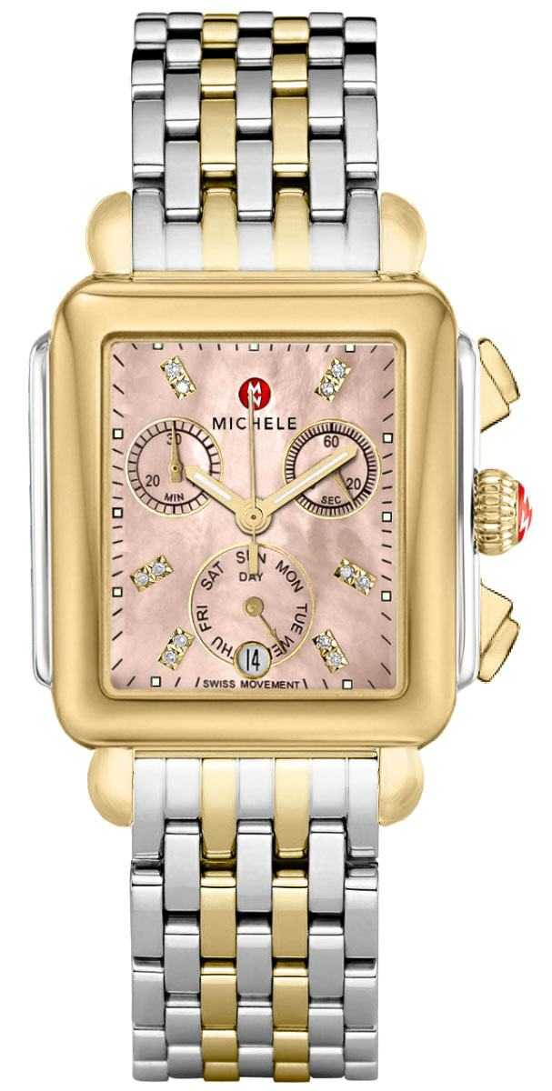 Michele Deco Two-Tone Diamond Dial Women's Watch MWW06P000286 Pink Mother Of Pearl USA - GOOFASH - Womens WATCHES