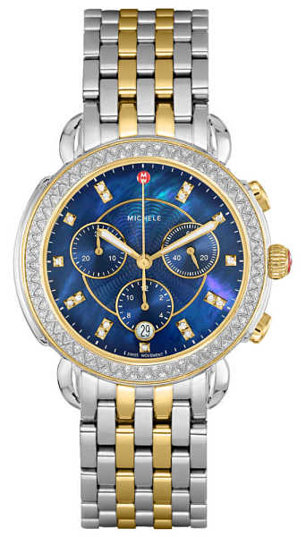 Michele Sidney Diamond Women's Watch MWW30A000048 Blue Mother Of Pearl USA - GOOFASH - Womens WATCHES