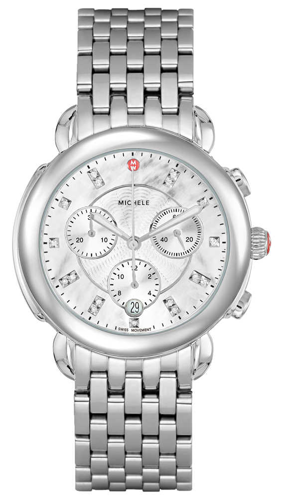 Michele Sidney Women's Watch MWW30A000015 White Mother Of Pearl USA - GOOFASH - Womens WATCHES