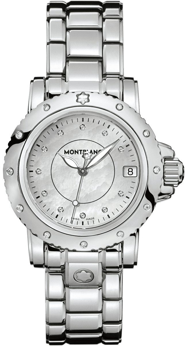 MontBlanc Sport Stainless Steel Luxury Women's Watch 102362 White Mother Of Pearl USA - GOOFASH - Womens T-SHIRTS
