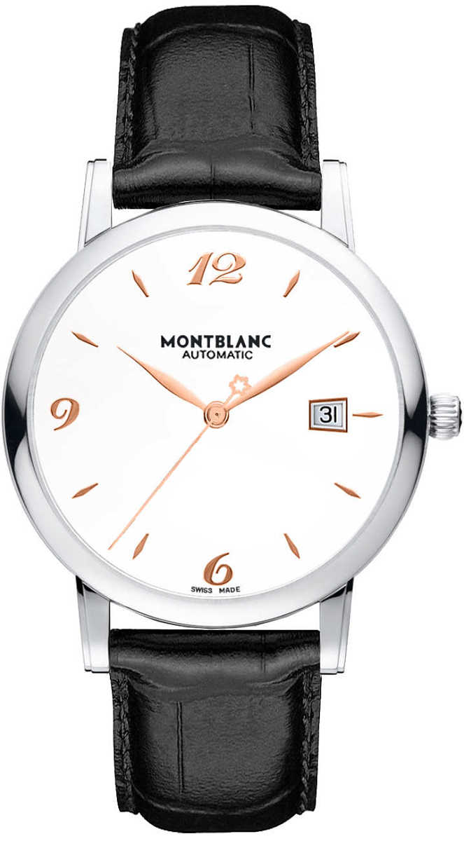 MontBlanc Star Classique Date Automatic Men's Dress Watch 110717 Silver USA - GOOFASH - Mens WATCHES