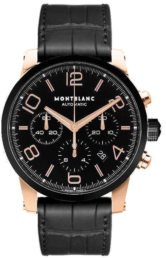 MontBlanc TimeWalker Chronograph Automatic Men's Watch 104668 Black USA - GOOFASH - Mens WATCHES
