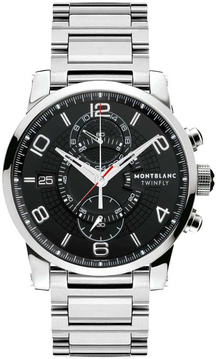MontBlanc TimeWalker Chronograph Black Dial Men's Watch 104286 Black USA - GOOFASH - Mens WATCHES