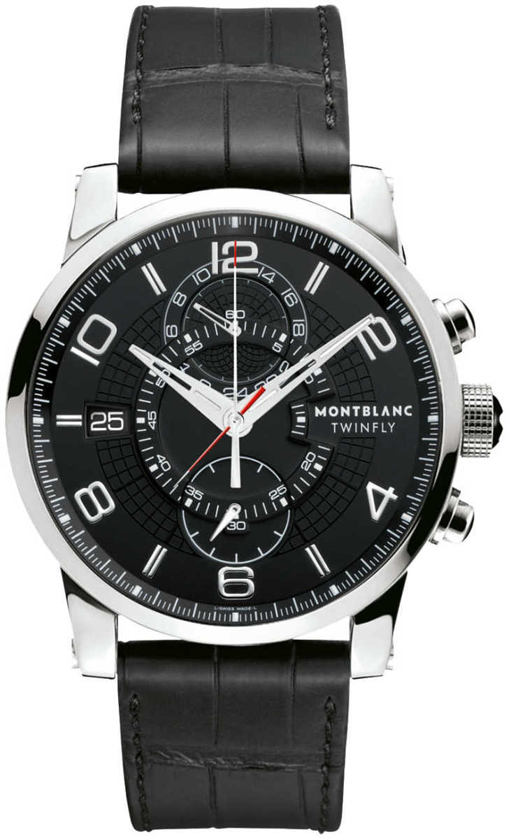 MontBlanc TimeWalker Chronograph Men's Watch Save 105077 Black USA - GOOFASH - Mens WATCHES