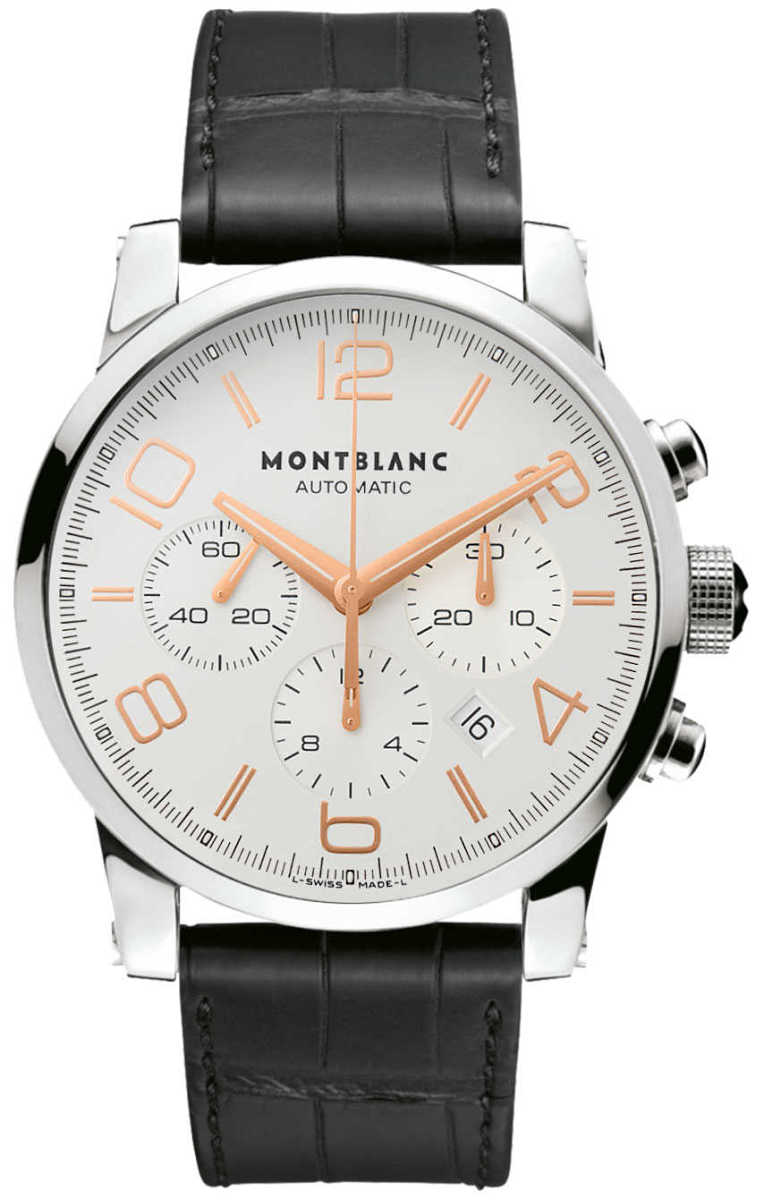 MontBlanc TimeWalker Chronograph Silver Dial Men's Watch 101549 Silver USA - GOOFASH - Mens WATCHES