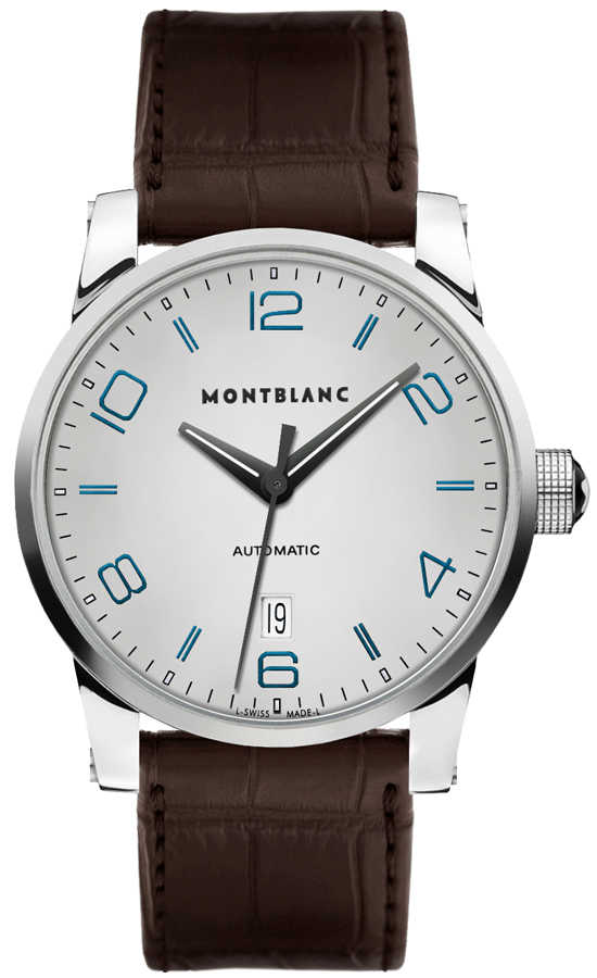 MontBlanc TimeWalker Date Silver Dial Men's Automatic Watch 110338 Silver USA - GOOFASH - Mens WATCHES