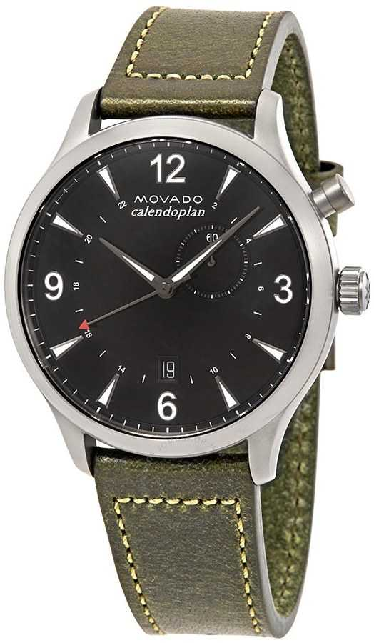 Movado Heritage Black Dial Men's Watch 3650019 Black USA - GOOFASH - Mens WATCHES