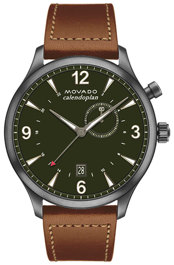 Movado Heritage Military Green Dial Watch 3650018 Green USA - GOOFASH - Mens WATCHES