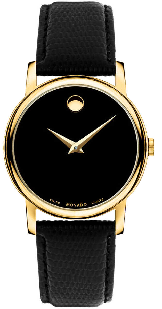 Movado Museum 38mm Quartz Men's Watch 2100005 Black USA - GOOFASH - Mens WATCHES
