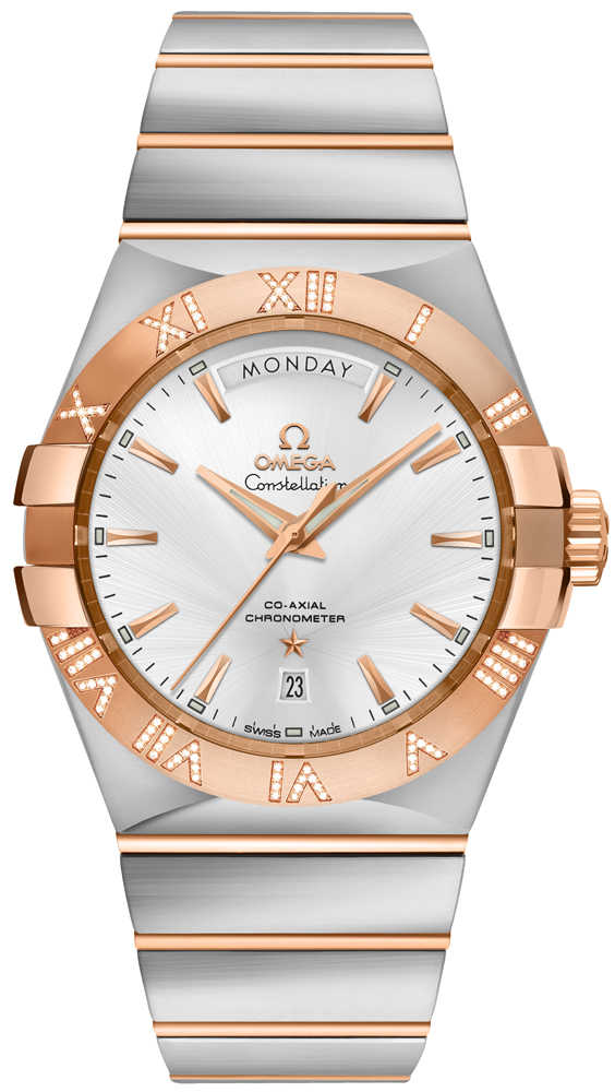 Omega Constellation Day-Date 38mm Men's Luxury Watch 123.25.38.22.02.001 Silver USA - GOOFASH - Mens WATCHES