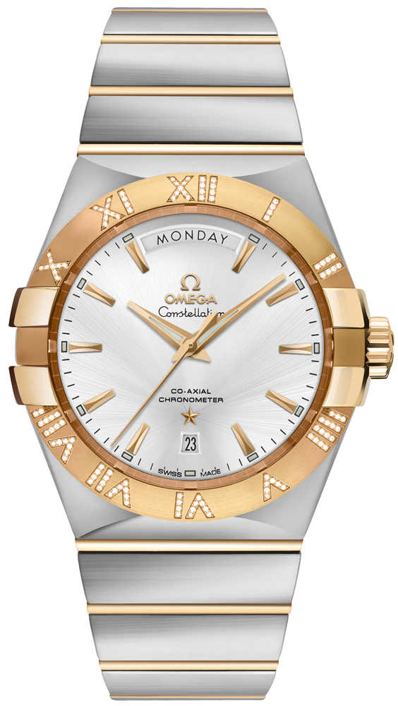 Omega Constellation Day-Date Diamond Men's Watch on Sale 123.25.38.22.02.002 Silver USA - GOOFASH - Mens WATCHES