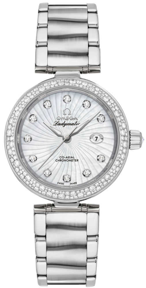Omega De Ville Ladymatic 34mm Automatic Chronometer Women's Watch 425.35.34.20.55.001 White Mother Of Pearl USA - GOOFASH - Womens WATCHES