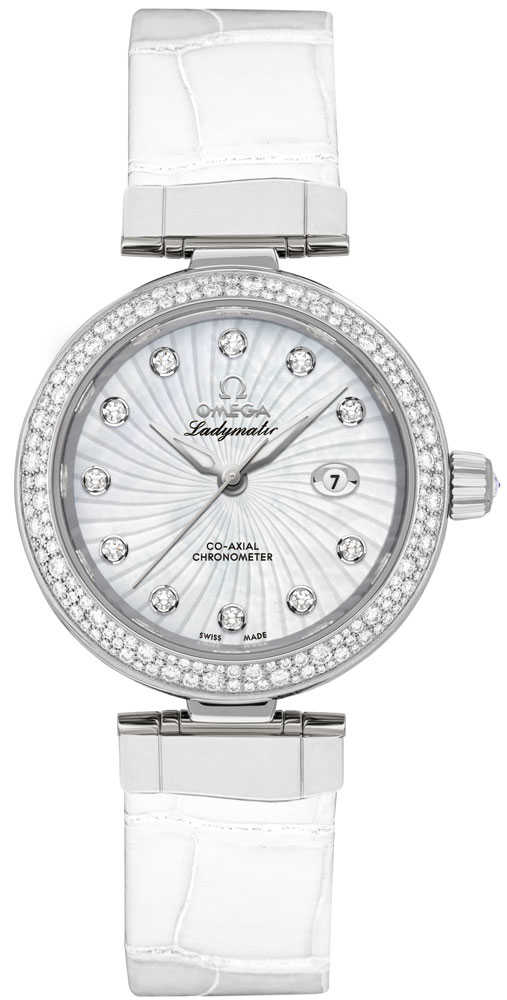 Omega De Ville Ladymatic 34mm Women's Watch 425.38.34.20.55.001 White Mother Of Pearl USA - GOOFASH - Womens WATCHES