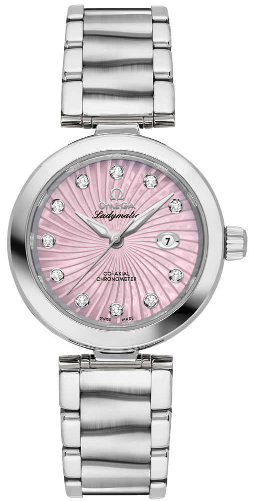Omega De Ville Ladymatic Pearl Pink & Diamond Dial Ladies Watch 425.30.34.20.57.001 Pink USA - GOOFASH - Womens WATCHES