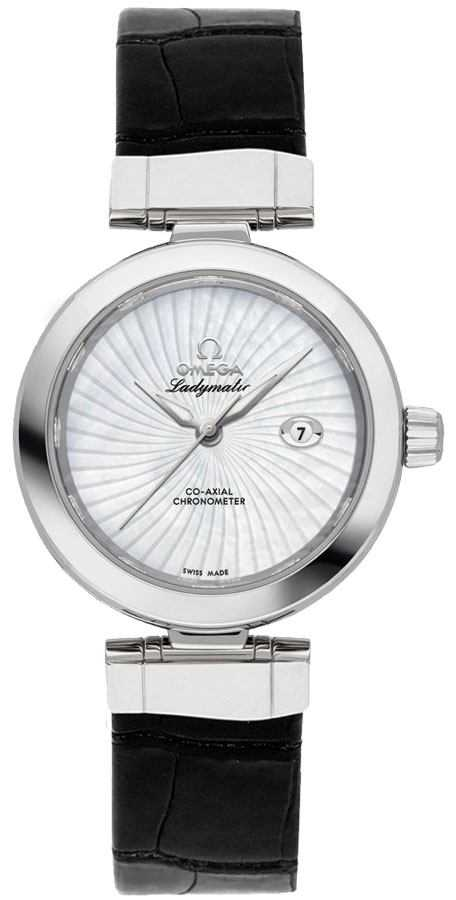 Omega De Ville Ladymatic Women's Watch 425.30.34.20.05.001 White Mother Of Pearl USA - GOOFASH - Womens WATCHES